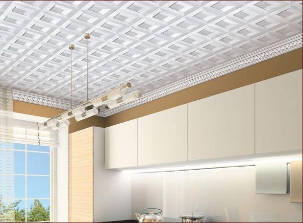 Оклейка потолочной плиткой