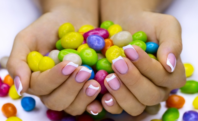 Candies in hands